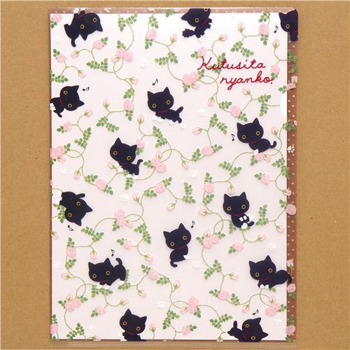 Kutusita Nyanko cat A4 plastic file folder rose note