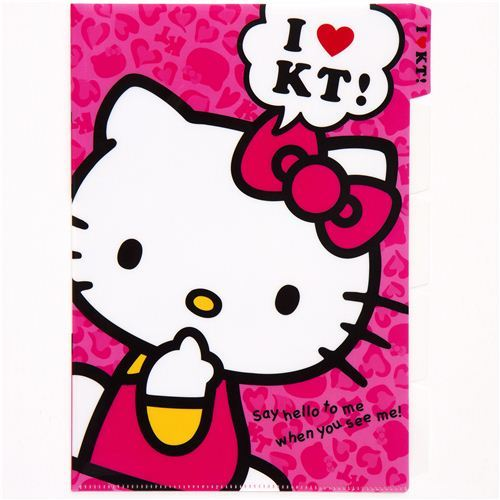 cute pink Hello Kitty A4 plastic file folder 5-pocket