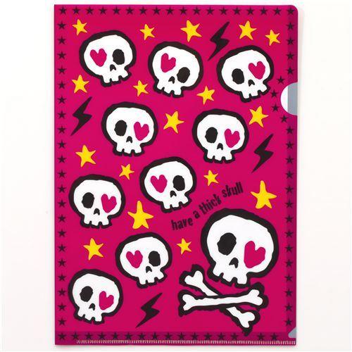 funny skull A4 plastic file folder stars