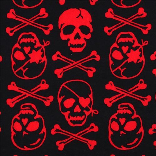black skull fabric with red skulls by Kokka Japan