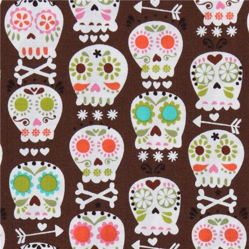 brown Michael Miller fabric colourful skulls bonehead