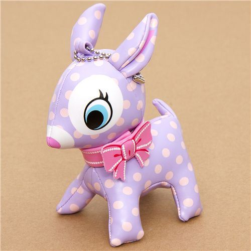 cute big lilac deer charm polka dots