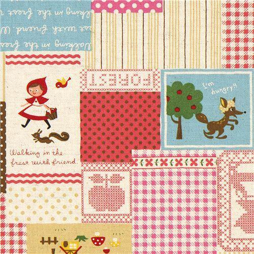Little Red Riding Hood Fairy Tale Canvas Fabric Kokka