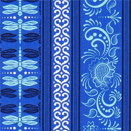 Michael Miller fabric pale blue dragonflies & ornaments