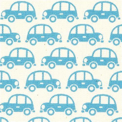 blue cars fabric for boys by Kokka Japan