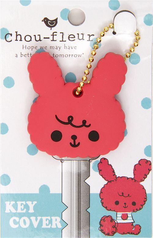 Chou-Fleur pink bunny key cover charm