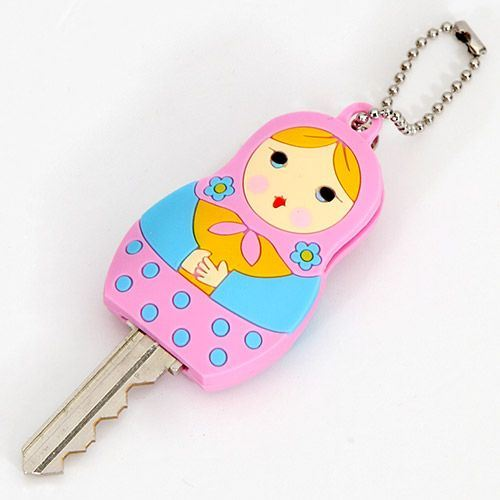 cute pink matryoshka key cover charm