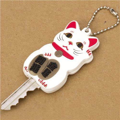 white Lucky Cat key cover charm