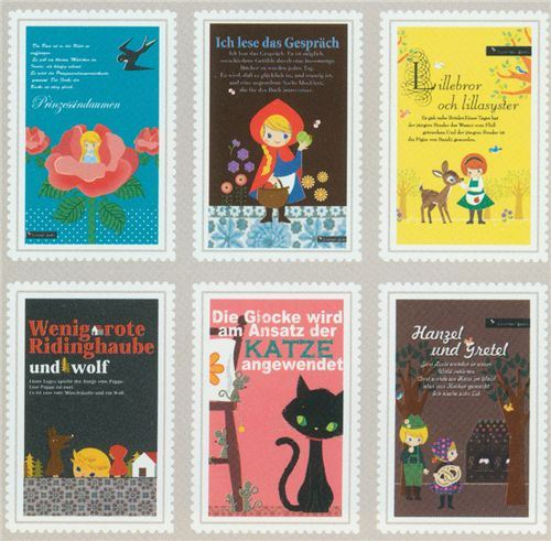 kawaii fairy tale postcard set from Japan