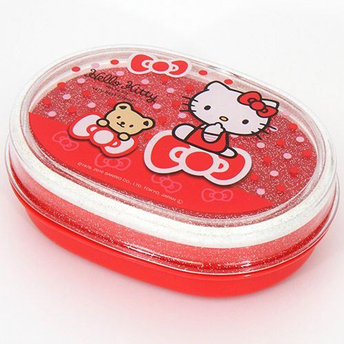 red Hello Kitty Bento Box glitter Lunch Box ribbons