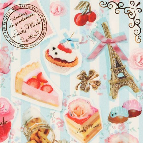 France sticker with Eiffel Tower pastry roses cherries