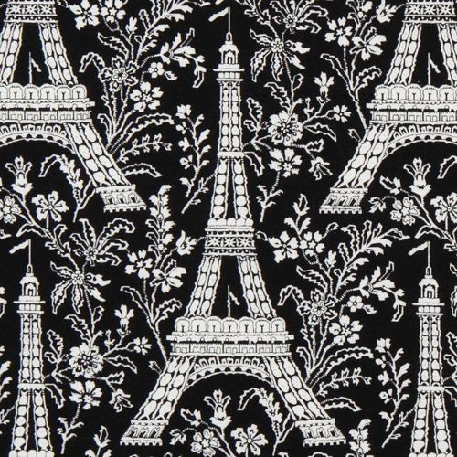 black Michael Miller fabric Eiffel Tower with flowers
