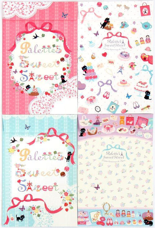 cute French Letter Set with flowers cats