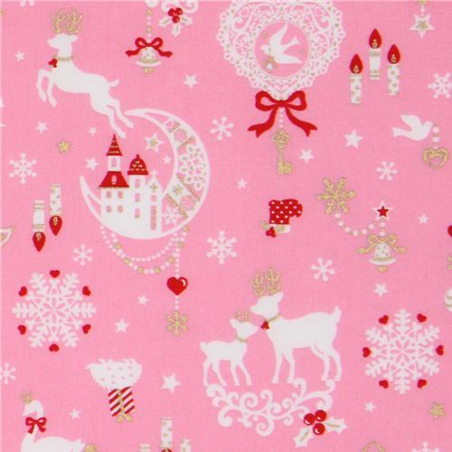 pink kawaii Christmas fabric Bambi bunny glitter Japan