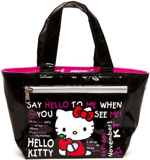 cute black Hello Kitty with apple lunch bag