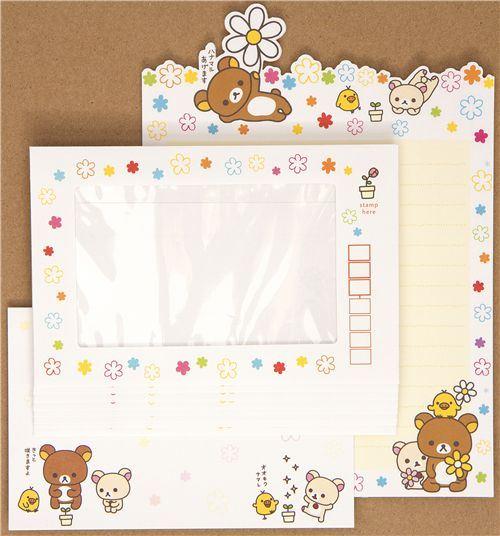 Rilakkuma bear flower Letter Set by San-X