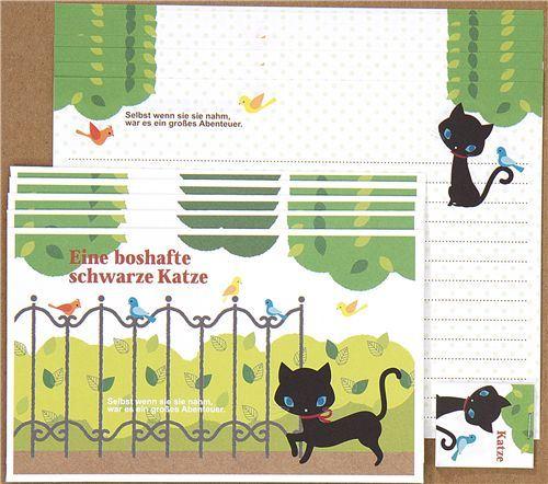 black kitty Letter Paper set in the park Japan