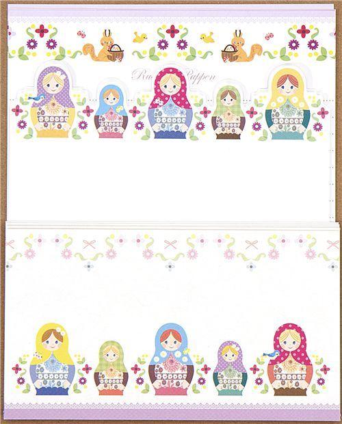 matryoshka Letter Paper set squirrel flower Japan
