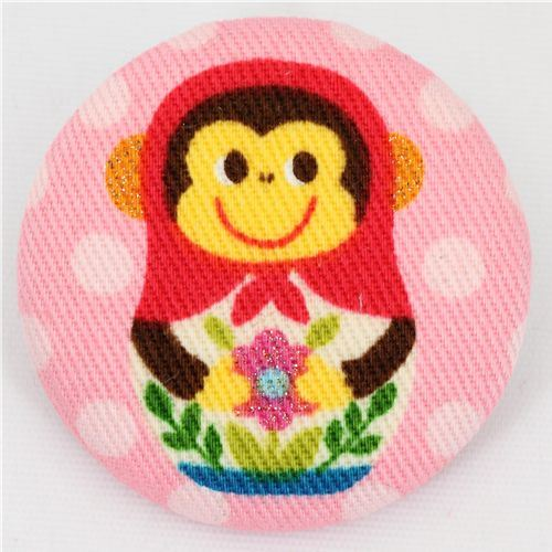 big matryoshka monkey button pink Kokka fabric button