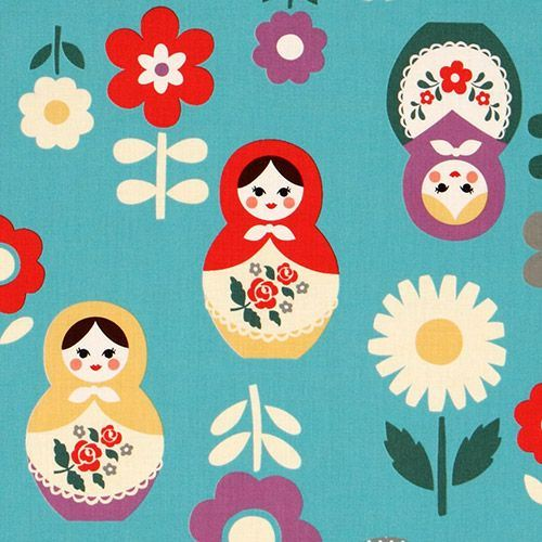 blue big babushka fabric matryoshka dolls Kokka