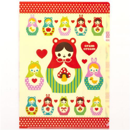 cute A4 matryoshka plastic file folder kawaii