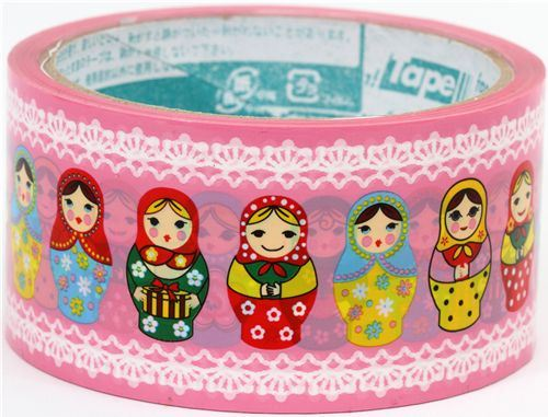 pink big Matryoshka Deco Tape Russian doll