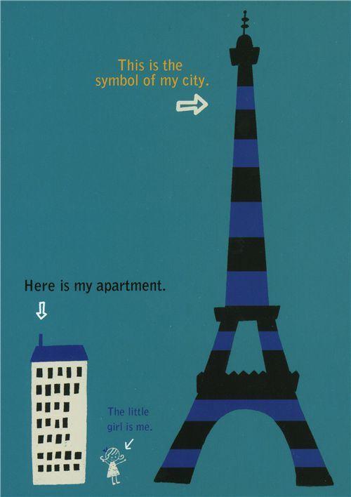cute Shinzi Katoh postcard Eiffel Tower with house