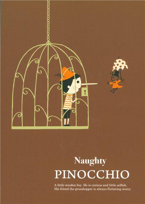 cute Shinzi Katoh postcard Pinocchio in a cage