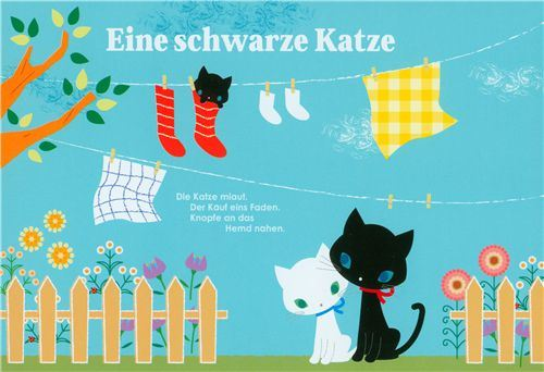 cute black cat postcard with clothesline