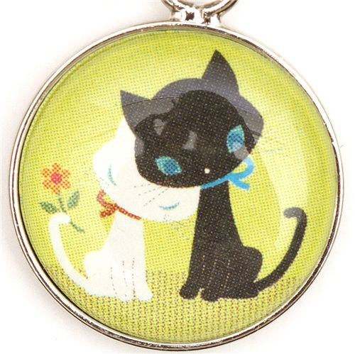 cute kitty couple phone strap green from Japan