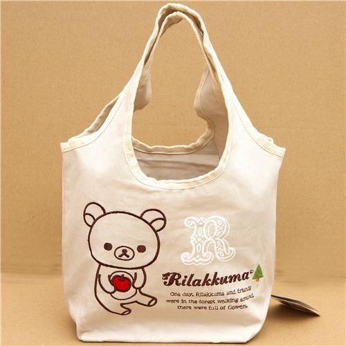 cute Rilakkuma bear shopping bag with apple