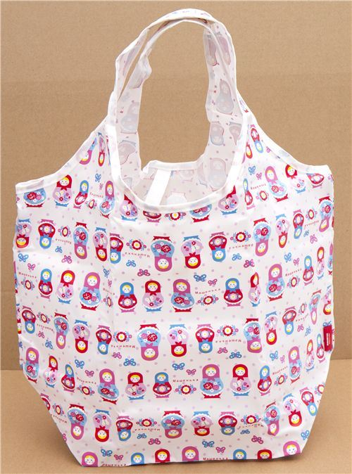 cute shopping bag with matryoshka dolls with pouch