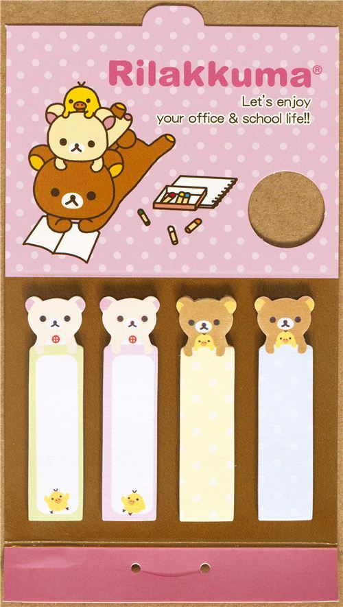 Rilakkuma bear Post-it bookmark sticker die-cut