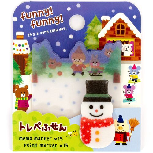 cute Christmas Post-it bookmark stickers Snowman