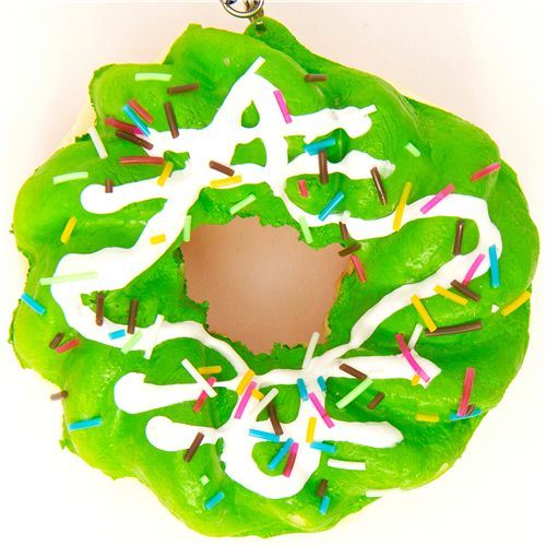 big green flower donut squishy charm with sprinkles