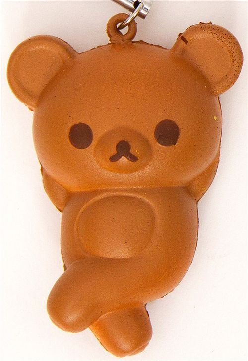 brown Rilakkuma bread squishy cellphone charm bear