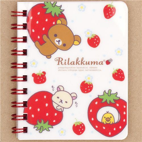 Rilakkuma Bear strawberry ring binder notebook