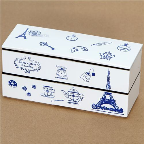 elegant white Eiffel Tower Lacquer Bento Box France