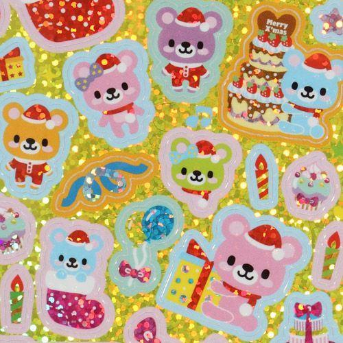 cute glitter sticker with Christmas teddy bears