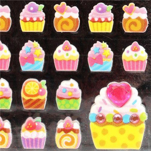 kawaii cupcakes sponge sticker Japan kawaii