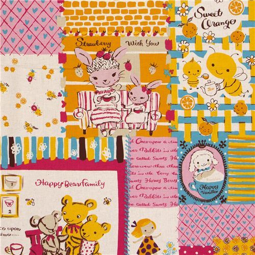 cute honeybee canvas fabric tea service from Japan