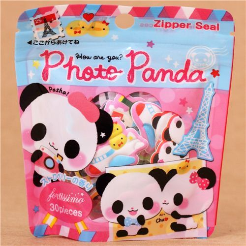 kawaii traveling panda sponge sticker sack from Japan