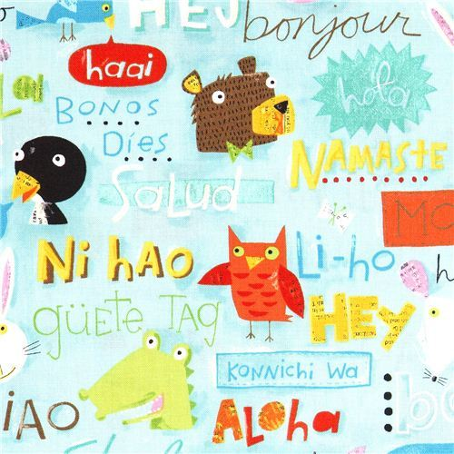 Hello animals canvas designer fabric by Nancy Wolff