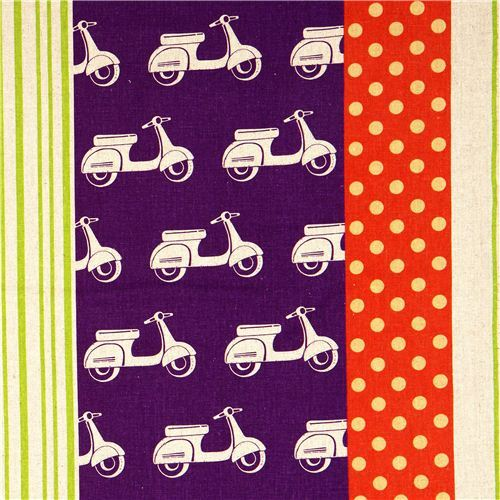 echino canvas designer fabric scooter Vespa purple