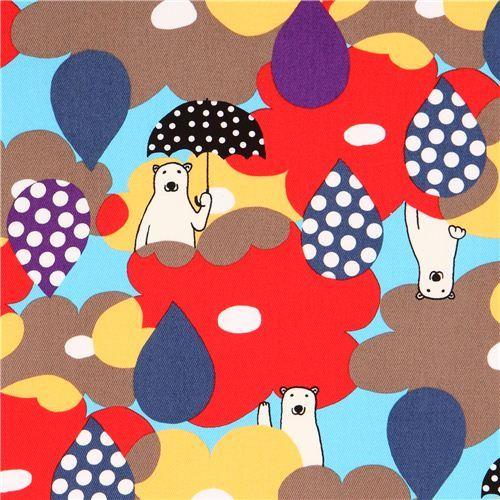 colorful polar bear flower rain twill fabric from Japan