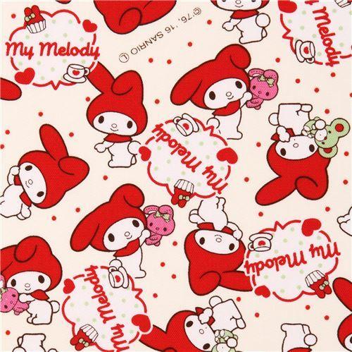cream My Melody rabbit dot laminate fabric Sanrio Japan