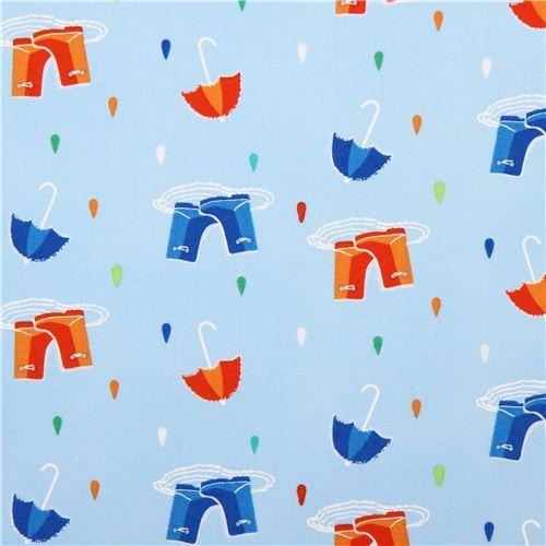light blue raindrop fabric with umbrellas boots design Michael Miller