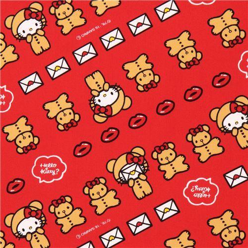 red Hello Kitty teddy bear lips laminate fabric Sanrio Japan
