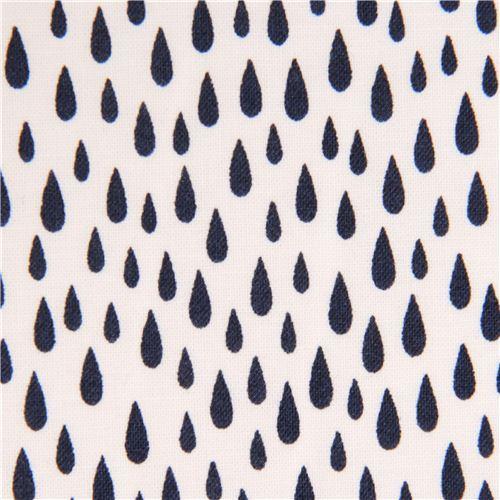 white Robert Kaufman navy blue raindrop fabric