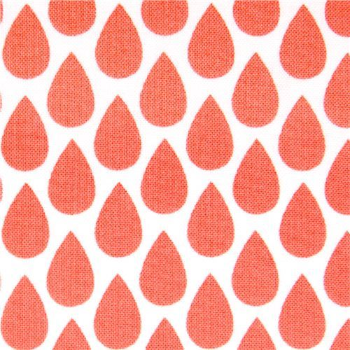white coral orange raindrop fabric by Michael Miller USA